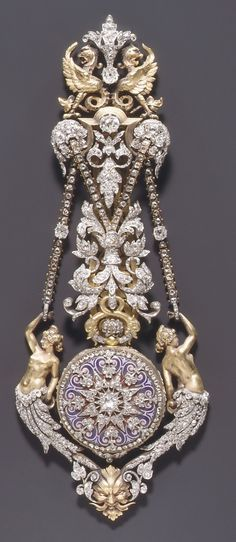 Watch and chatelaine, by Hippolyte Téterger, French (Paris), ca. 1870-78. Gold, platinum, and diamonds.