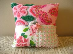 Vintage Chenille Patchwork Pillow Kitschy
