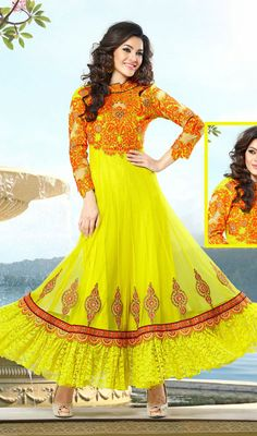 Artistic Georgette Party Wear Anarkali Suit Price: Usa Dollar $139, British UK Pound £82, Euro103, Canada CA$151 , Indian Rs7506.