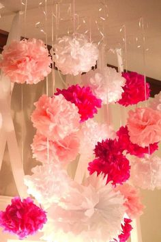 Baby girl baby shower decor...hang with curling ribbon if I cant find fishing line at the house.: