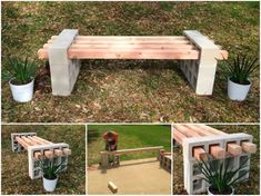 betonblock garten This is a very easy DIY project of creating fantastic bench seating , all you need are Cinder Blocks (Besser Blocks). This cinder block bench would be a Patio Bench, Diy Bench, Diy Patio, Backyard Patio, Backyard Landscaping, Bench Seat, Patio Table, Patio Ideas, Garden Ideas