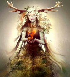 Horned spirit goddess