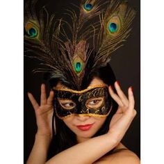 Black Peacock Feather Venetian Masked Ball Eye Mask (struts-2594): Amazon.co.uk: Toys & Games