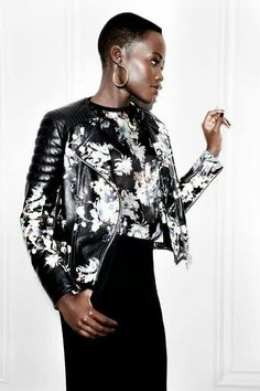 Lupita in matching floral prints