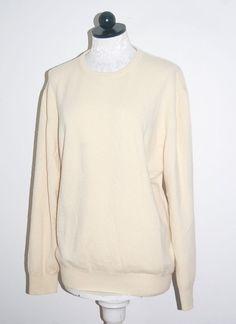 Navy Cutter 100% Cashmere Woman's Cream Crewneck Sweater M #NavyCutter #Crewneck