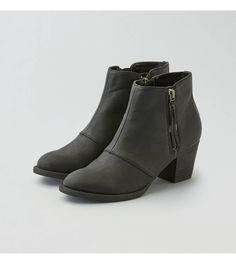 Black AEO Double Zip Stacked Heel Bootie