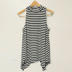 new small mock neck top strip top long bouse new Rad Brand size Small tank blouse. **not free people brand Free People Tops Blouses