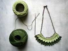 green crochet necklace for woman in  cotton   Yarn by vumap, $28.00