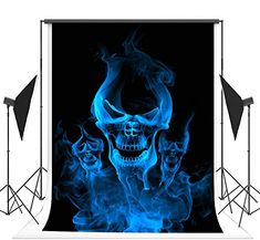 Three Blue Ghost Photography Backgrounds no Wrinkle Backdrops for Halloween Photography Backgrounds, Background For Photography, Halloween Backdrop, Ghost Photography, Backdrops, Batman, Superhero, Amazon, Blue