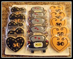 Anniversary Favors cookies-i-love<br> 50th Anniversary Cookies, 50 Wedding Anniversary Gifts, Golden Anniversary, Anniversary Parties, Anniversary Ideas, Celebration Love, Cute Cookies, Sugar Cookies, 50th Party