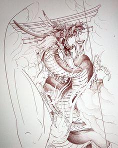 Japanese Dragon Tattoos, Japanese Tattoo Art, Dragon Tattoo Designs, Tattoo Sleeve Designs, Asian Tattoos, Arabic Tattoos, Dragon Sleeve Tattoos, Dragon Sketch, Japan Tattoo
