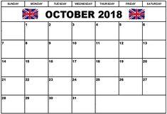 October 2018 Calendar Template With Holidays- For USA, UK and Australia. Blank Calendar, Calendar 2018, Uk Holiday Calendar, Printable Calendar Template, Usa Holidays, Travel Planner, Playing Cards, October, Printables