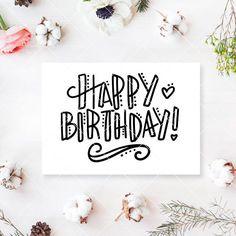 svg cut file bday svg birthday card vector f… - Top-Trends Happy Birthday Posters, Happy Birthday Signs, Birthday Letters, Happy Birthday Doodles, Happy Birthday Writing, Happy Birthday Drawings, Diy Birthday Poster, Happy Birthday Cards Handmade, Creative Birthday Cards
