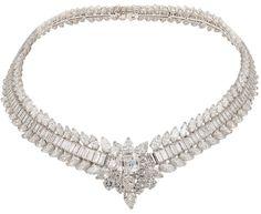 diamondsinthelibrary:    Van Cleef & Arpels Platinum Diamond Necklace. Center stone approx. 51/2cts. + 110cts. of diamonds. Via @1stdibs.