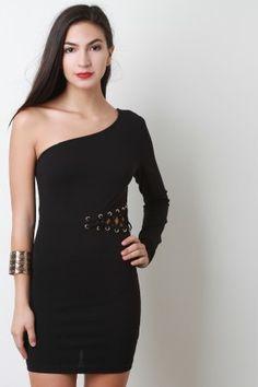 One Shoulder Lace-Up Side Dress