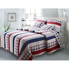 @Overstock - A contemporary classic, this Americana-colored quilt set gives any bed an updated nautical look. The quilt reverses to a coordinating all-over plaid and is oversized for better coverage on today?s deeper mattresses.http://www.overstock.com/Bedding-Bath/Nautical-Stripes-Quilt-Set/6836398/product.html?CID=214117 $79.99