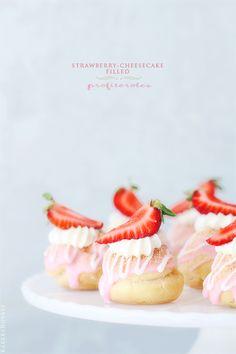 Strawberry-Cheesecake Filled Profiteroles via BakersRoyale - gorgeous!