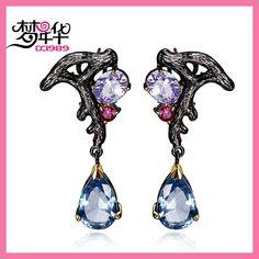 DreamCarnival 1989 Purple Blue CZ Earring for Women Dangle Luxury Vintage Bijoux Pendientes Borla Bruiloft Oorbellen Moda Brinco