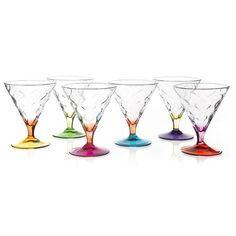 Set de seis copas de helado Riflessi Bicolour de RCR Crystal, 30 cl