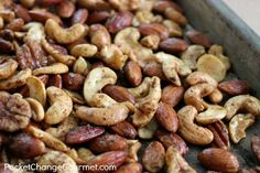 Savory Nut Mix | Recipe on PocketChangeGourmet.com  Classic Chex Mix flavors on mixed nuts!