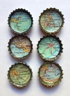 Bottle Cap Magnets Recycled Atlas/ Map I can make . - Bottle Cap Magnets Recycled Atlas/ Map I can make … – Bottle Cap Magnets, Bottle Cap Art, Bottle Cap Jewelry, Bottle Bottle, Map Crafts, Diy And Crafts, Upcycled Crafts, Garrafa Diy, Bottle Cap Projects