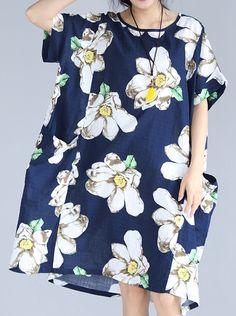 fashion blue floral natural linen dress  trendy plus size traveling dress 2018 big pockets short sleeve linen clothing dresses