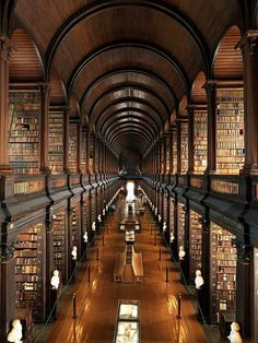 """Trinity College Library, Dublin, Ireland...at Ireland's oldest university, home to the book of Kells, the """"Old Library"""" stuns with its dark wood, spiral staircases and seemingly endless aisles of books. It was built between 1712 and 1732 and renovated in 1860 to include a barrel ceiling for a second floor of book shelves."""