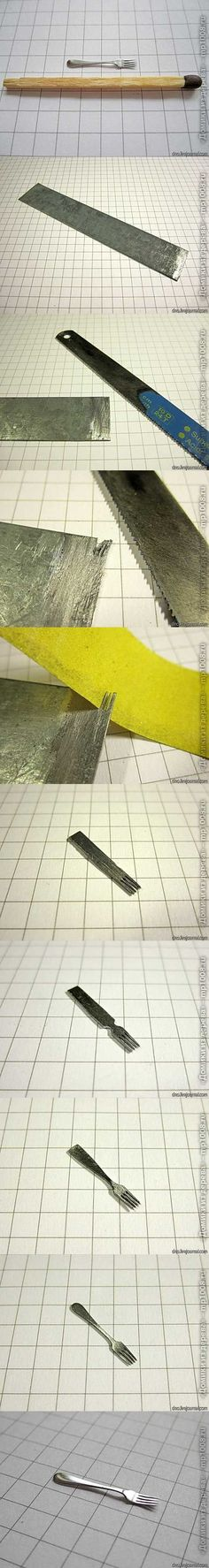 Picture tutorial for making realistic dollhouse cutlery
