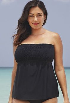 276a9c9411337 Try out the Black Smocked Bandeau Tankini Top and more at Swimsuits for  All! Summer Dresses