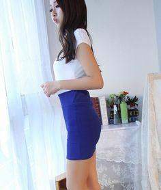 Elastic Waist Above Knee Skirts