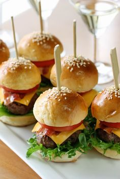 simple and super easy baby shower food ideas, dessert inspirations - mini beef tomato cheese lettuce burgers