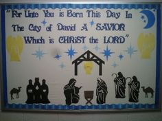 Christmas bulletin board.  I created this board for church.  It was inspired by another pinner.  I added a few things