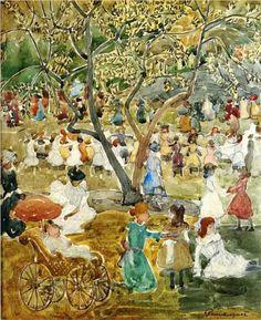 Primeiro de maio no Central Park (NY), 1903 Maurice Prendergast (Canadá 1857 — EUA, 1924) Aquarela, 29 x 50 cm Coleção Particular
