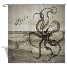 The Kraken Shower Curtain by RafkinsWarning - CafePress Decor, Shower Curtain, Boy Bath, Octopus Shower Curtains, Curtains, Kraken Shower Curtain, Wood Art Diy, Fabric Decor, Prints