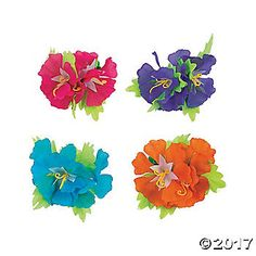 These hibiscus flower hair clips are tropical treats. They're hot Hawaiian accessories for your hula dance costume and additions to your luau party favor . Luau Party Favors, Beach Wedding Favors, Party Favor Bags, Flower Hair Clips, Flowers In Hair, Moana Party Supplies, Growing Hibiscus, Fun Express, Baby Shower Supplies