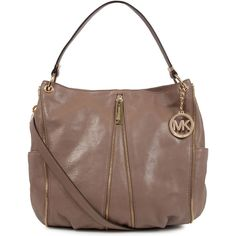 MICHAEL Michael Kors Newman Medium Leather Shoulder Bag ($520) ❤ liked on Polyvore