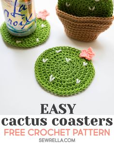 Crochet Cactus Coasters Sewrella Schwester Juchuh Crochet Cactus Coasters Sewrella These fun crochet coasters are so quick and easy to make They make a great affordab. Crochet Unique, Cute Crochet, Knit Crochet, Quick Crochet Gifts, Knitting Projects, Crochet Projects, Knitting Patterns, Crochet Patterns, Doily Patterns