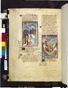 Harley 4431   fol 110v   (Cassandra and Neptune). Paris, France 1410-1414.
