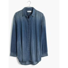 MADEWELL Denim Clean Placket Shirt ($88) ❤ liked on Polyvore featuring tops, hagen wash, denim button down shirt, denim shirt, oversized shirt, oversized tops and denim top