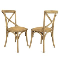 Furnistars Tan Elm Wood Vintage-Style Dining Chairs  (Set of two) This classic vintage-inspired chair is a lovely accent piece for the dining room or living room. The simple X-style backrest and padded woven rattan seat prove you needn't sacrifice comfort for style. With a sturdy four-legged base this chair is practical too. It makes a beautiful addition to any room's decor