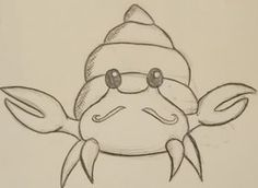 Cute hermit crab illustration - looks like this crab's antenna are a mustache.