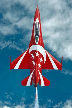 RSAF Black Knights The Black Knights demonstration team of the Republic of Singapore F-16C retained the usual red and white colors of the Singapore flag, but a crescent moon and five stars were added to the topside of their six Fighting Falcons for the 2014 show season.