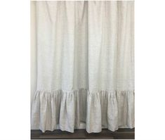 Natural Linen shower curtain with mermaid long ruffles, Medium Weight Linen, Undyed linen, Custom Shower Curtain Extra Long, Wide