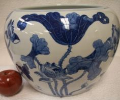A Deep cobalt blue flower on a Chinese porcelain fish bowl. This one sold out but we have more at www.bluewhitevases.com. #blueandwhite #homedecor #porcelainvase