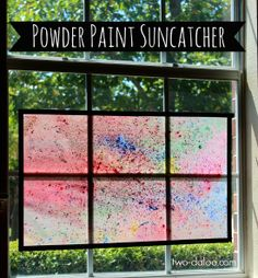 A simple process art activity that also yields a beautiful product to brighten up your windows; these powder paint suncatchers are perfect for active toddlers and make a great play date activity.