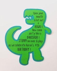 Dinosaur Birthday Invitations- Trex Dinosaur Birthday InvitationsBirthday Party by on Etsy Fourth Birthday, 4th Birthday Parties, Baby Birthday, Birthday Ideas, 1st Birthdays, Birthday Quotes, Birthday Gifts, Birthday Cake, Dinosaur Birthday Invitations