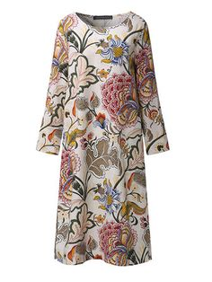 Only US$22.29 , shop Loose Women Floral Printed Three Quarter Sleeve Linen Retro Dress at Banggood.com. Buy fashion Floral Dresses online.