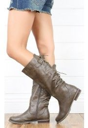 Bailey01 Lace Up Riding Boots TAUPE