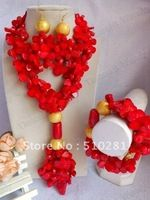 Free ship!Red Double Strand Flower Full Beads Design Fashion Coral Jewelry set necklace bracelet and earrings
