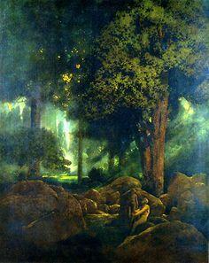 Adam et Eve, huile de Maxfield Parrish (1870-1966, United States)